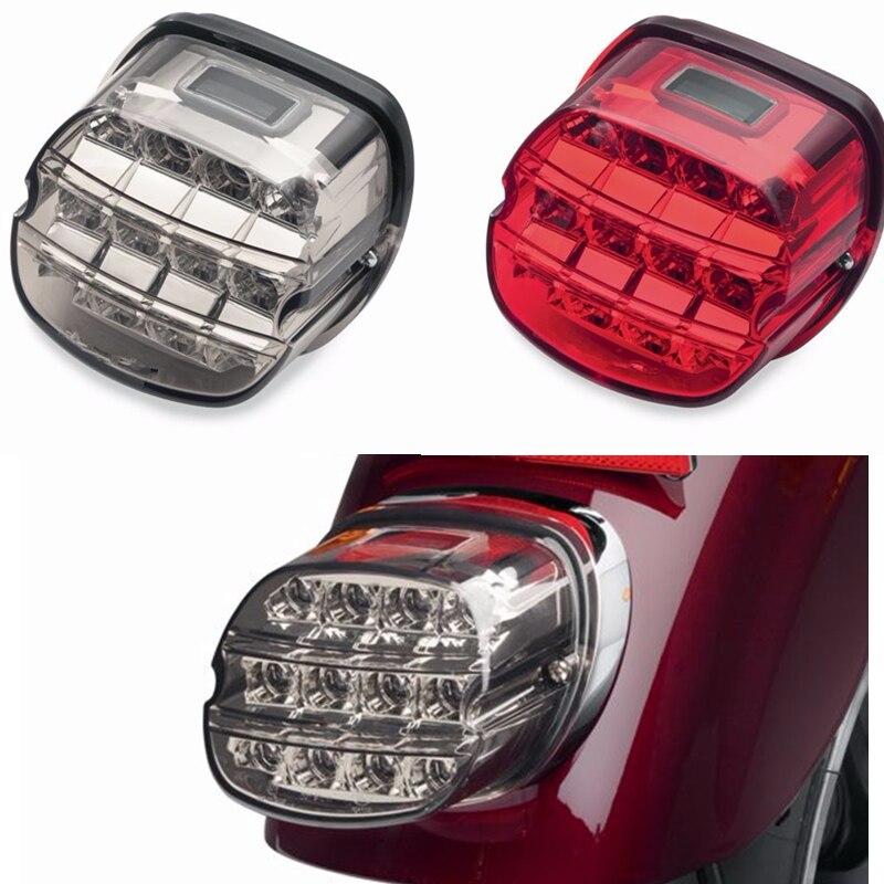 Luz trasera para motocicleta Harley, luz LED de humo, 12 v, luz trasera para matrícula para Harley Dyna, deslizamiento súper amplio, Low Rider