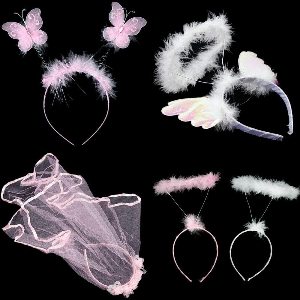 20x Children Cartoon Headband Headwear performance animal angel crown butterfly hair Accessories Cosplay Christmas  Halloween