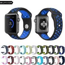 BUMVOR Sport Silicone Strap Band for Apple Watch 44/40/42/38MM Bracelet Watchband iwatch 4/3/2/1 Rubber Women& Men Watch Strap