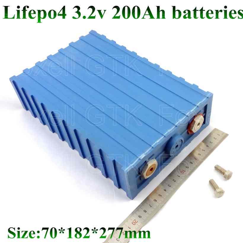 8 piezas 3,2 V 200Ah LiFepo4 de la batería de litio 12V Paquete de batería 24V DIY energía Solar Sistema de Golf carro EV Caranvan Motor hogar