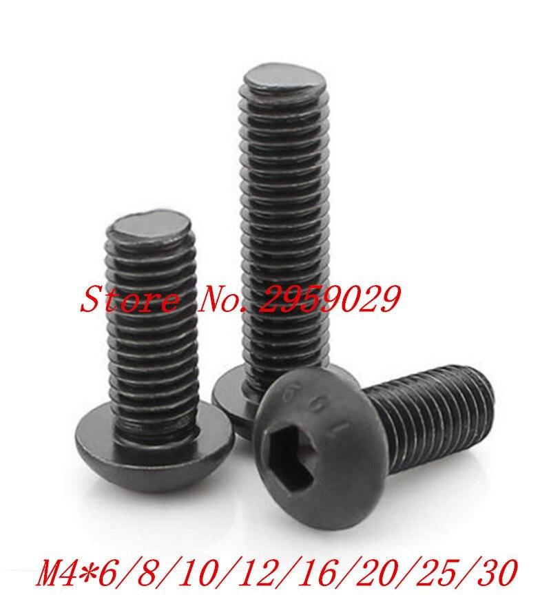 100 PCS ISO7380 m4 * 6/8/10/12/16/20/25/30/35/40/45/50mm hex hexagon botão soquete parafuso de cabeça de Aço com preto