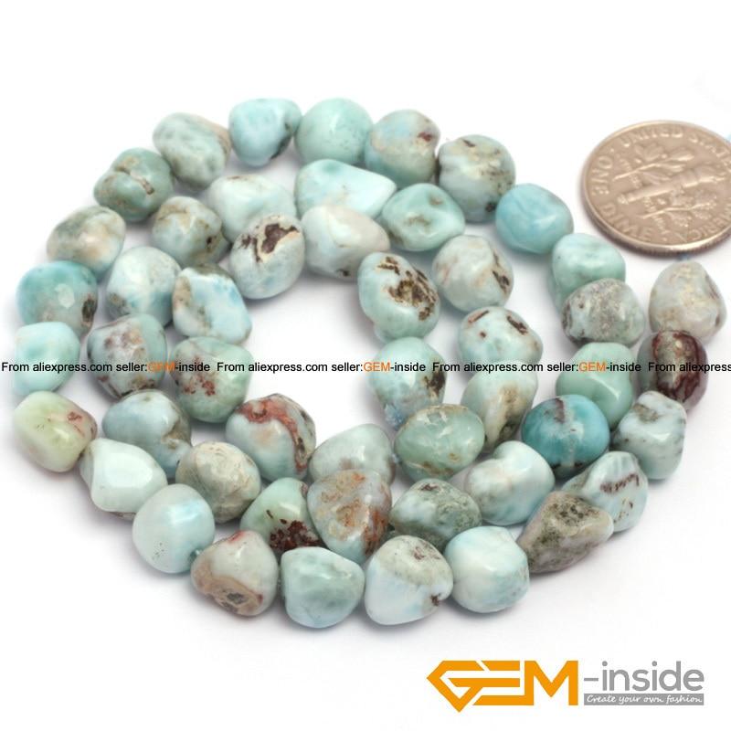 "Larimar Freeform Potato & chip Shape Larimar Beads Natural Stone Beads DIY Loose Beads For Bracelet Making Strand 15"" Wholesale"