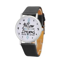 Superieure Relogio feminino Klok Vrouwen Follow Dromen Woorden Patroon Lederen Horloge Gift December 23