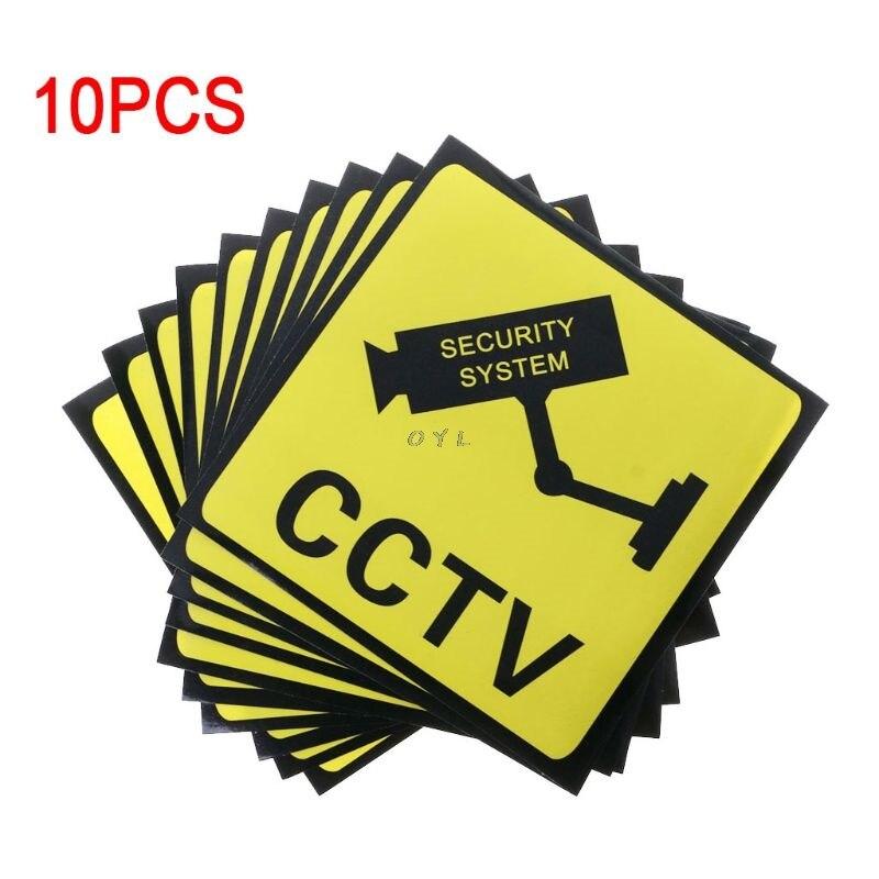 10 Uds pegatinas de advertencia para el sistema de seguridad CCTV auto-adhesivo etiqueta de seguridad signos etiqueta 111mm impermeable