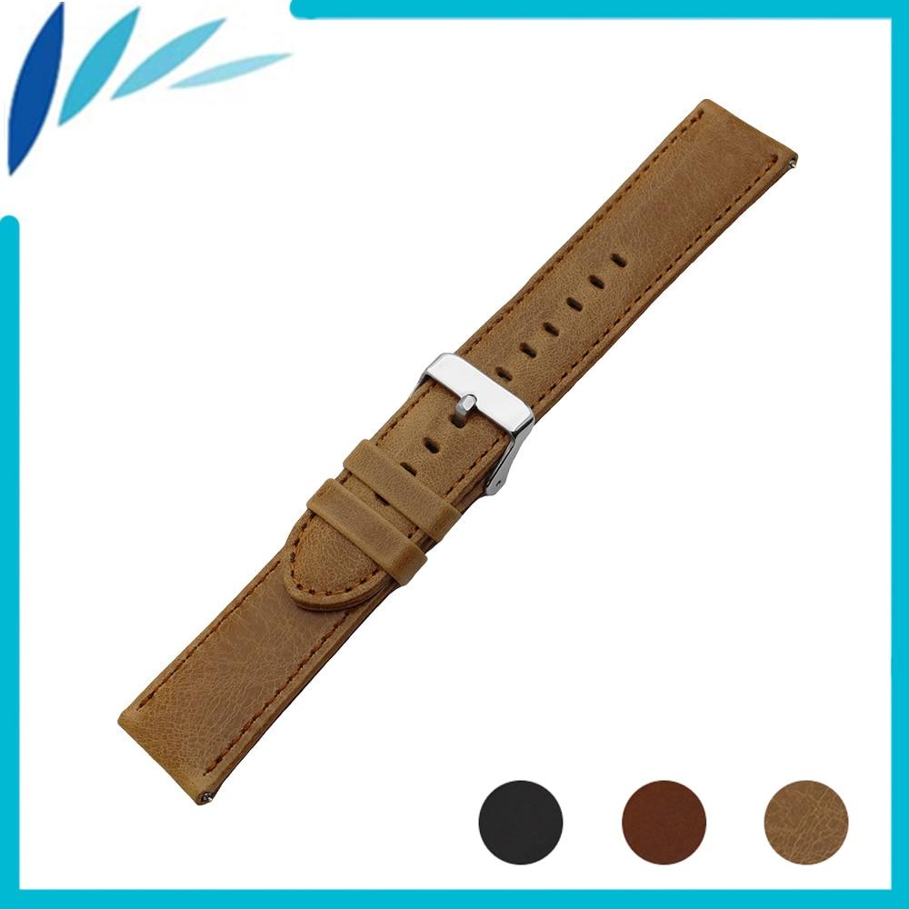 Genuine Leather Watch Band for Movado Watchband 22mm Men Women Quick Release Strap Wrist Loop Belt Bracelet Black Brown + Pin