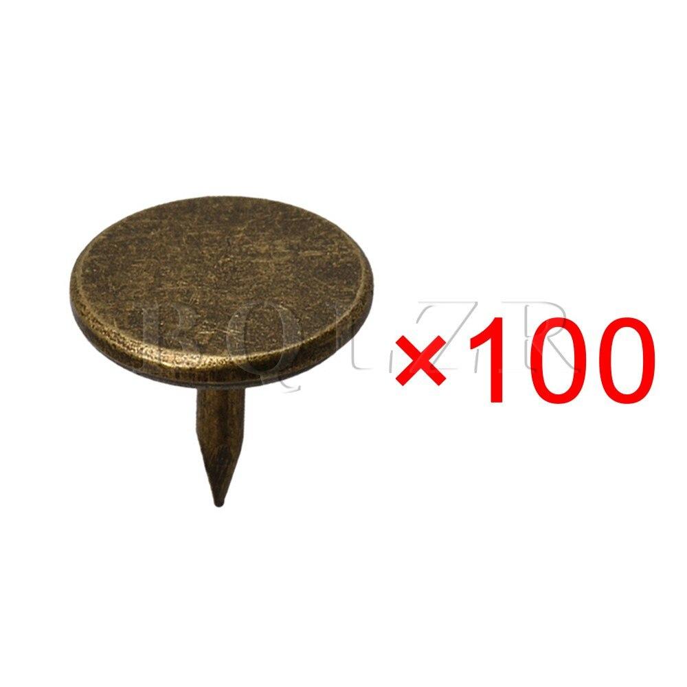BQLZR 8x9mm Bronze  Vintage Flat Head Thumb Tacks Furniture Decor Nails for Furniture Sofa Door Pack of 100