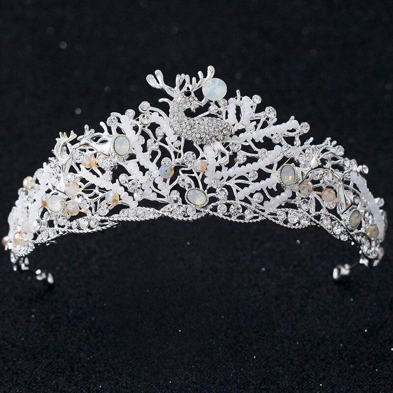 Nuevo diseño alce pequeño de cuentas de cristal tiaras de novia de...