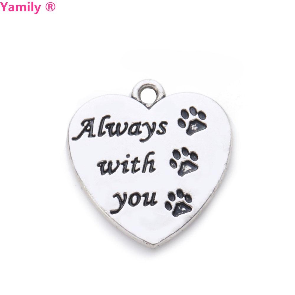 5 шт.-22x20 мм античный серебряный тон, очаровательное сообщение, всегда в моем сердце, любовь, собаки, лапа, принт, сердце, подвеска