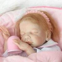 50cm new mohair hair soft body silicone reborn baby doll toys realistic newborn girl bebe babies dolls gift bathe toy