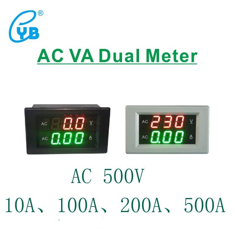 YB4835VA светодиодный цифровой вольтметр Амперметр AC0-500V измеритель напряжения переменного тока светодиодный вольтметр Панель измеритель дву...