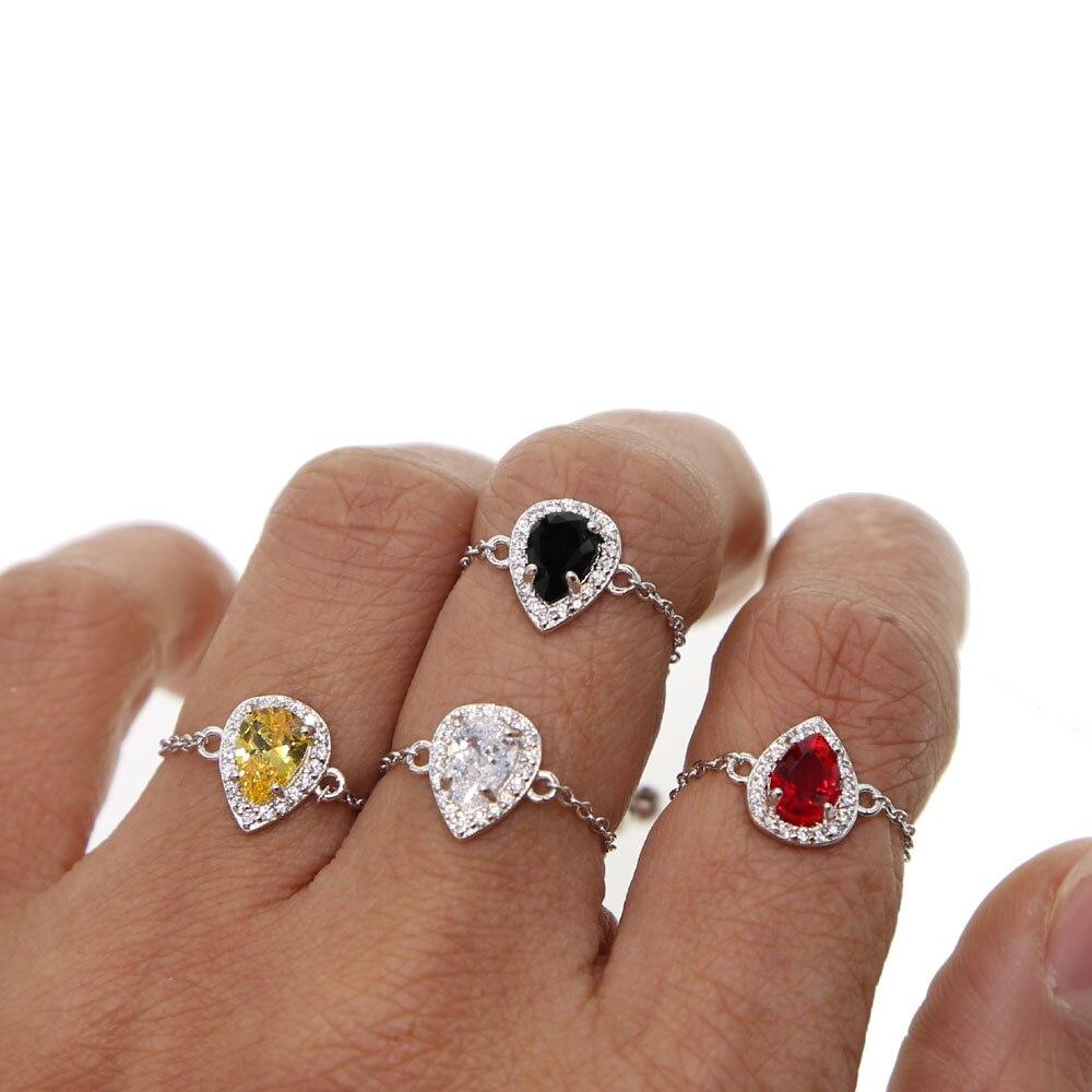 Regalo de compromiso de boda silder Cadena de ajuste varios colores blanco negro rojo amarillo bonito impresionante moda mujer delicado anillo de cadena