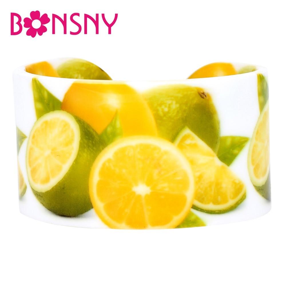 Bonsny Acrylic Kaffir Lime Lemon Pattern Bangles Bracelets Trendy Indian Craft Summer Fruit Jewelry For Women Girls Wholesale