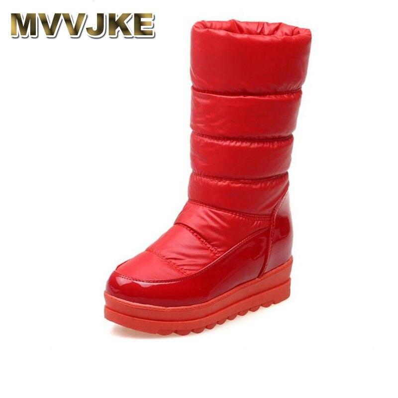 MVVJKE, zapatos de piel gruesa para mujer de talla 34-43, botas de nieve cálidas con cuña, zapatos de invierno para el frío, botas de media caña calzado para mujer