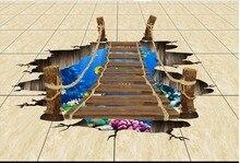 Hippoworld-sol 3D du ponton 3D   Photo personnalisée, sol 3D autocollant, papier peint stéréoscopique