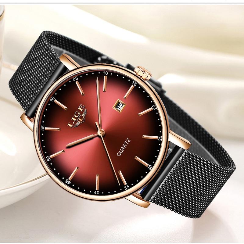 LIGE Fashion Women Watch Top Brand Luxury Ladies Mesh Belt Ultra-thin Watch Stainless Steel Waterproof Quartz Watch Reloj Mujer enlarge