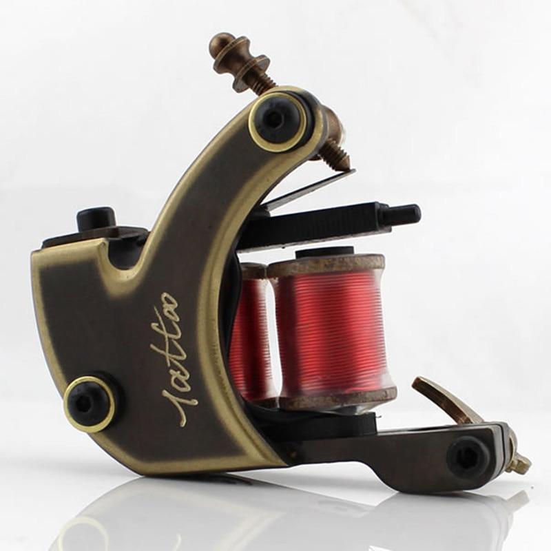 2PCS/Set Liner&Shader Handmade Wire Cutting Copper Permanent Machine Tattoo Machine 12 Wraps Coil for Tattoo Gun free shipping