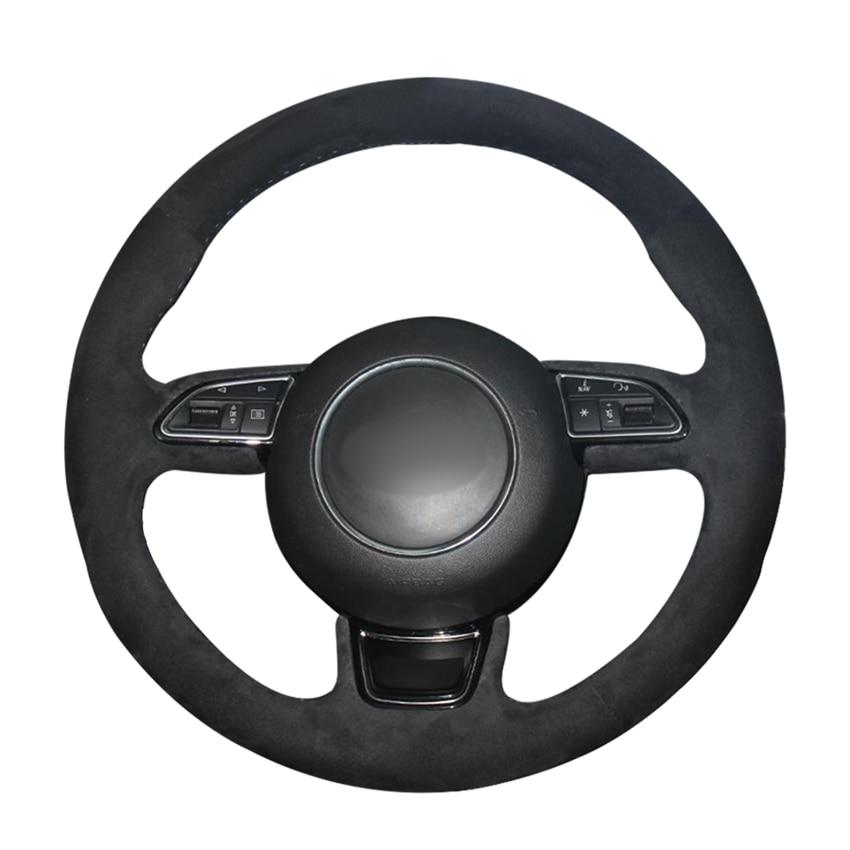 Сшитый вручную черный замшевый чехол рулевого колеса автомобиля для Audi A1 8X A3 8V