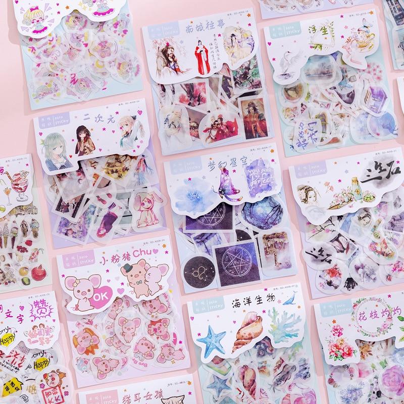 (40 6sheets/set) Material de Papel Bonito Dos Desenhos Animados Adesivos DIY Foto Álbum Diário Decoração Washi Adesivo