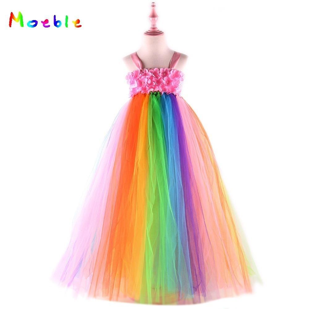 Candy Rainbow Girl Summer Dresses Ankle-Length Flower Girls Tulle Tutu Dress for Birthday Party Brid