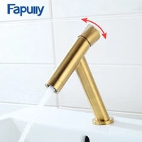 fapully brushed gold basin faucet black taps brass simple t design 7 colors single handle bath sink mixer water crane 1073
