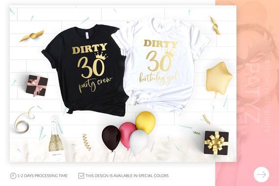 OKOUFEN Sujo Trinta Birthday Party Crew T-shirt Casual New Moda Ouro Imprimir Mulheres Top Tee Carta Impressão Camisa Fêmea T