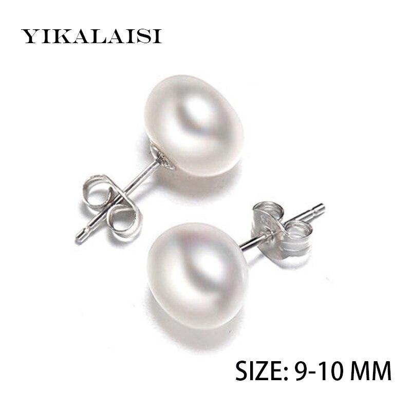 ¡NOVEDAD DE 2017! Pendientes YIKALAISI de perlas naturales de agua dulce, joyería de plata de ley 925 para mujer, los mejores regalos, 9-10 MM