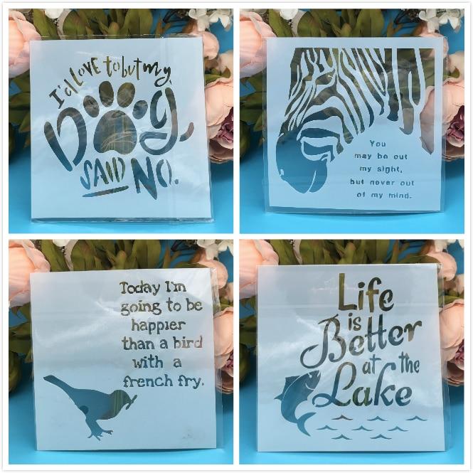 "4Pcs/Set 5.9"" Animal Bird DIY Layering Stencils Wall Painting Scrapbook Coloring Embossing Album Decorative Paper Card Template"