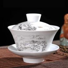 Service à thé chinois Gaiwan porcelaine bleu et blanc   Service à thé Kung Fu, soupière bol à thé en céramique, tasse et soucoupe maître tasses