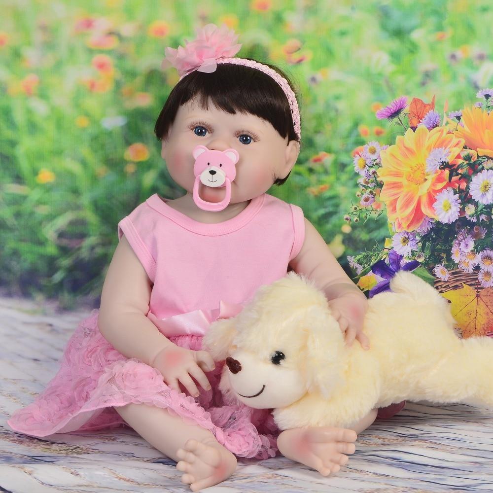 55cm Bebe Doll Reborn smooth Silicone Girl play house DIY Toy Reborn Baby Doll  for kid Surprise gift dark hair bebe reborn doll