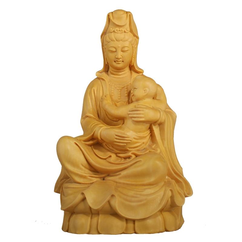 Wood Figurine Buddha statue Wooden bouddha statue Carving Home Craft Sculpture buda estatua Home Decoration Miniature decoracion