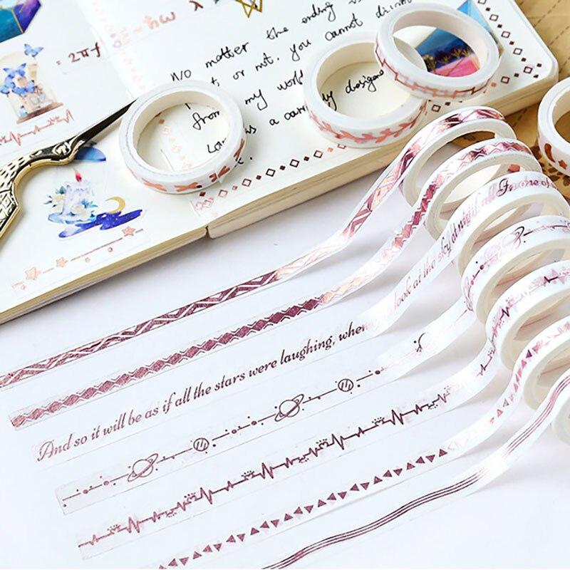 Cinta Washi Kawaii con cuadrícula de puntos, cinta adhesiva de oro rosa, cinta Washitape para álbum de recortes, cinta decorativa para diario, papelería japonesa