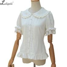 Chemise Lolita douce manches courtes bouffantes fleur brodée col claudine Blouse blanche à volants pour dames