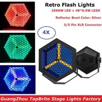 4Pcs Flat Par Lights 3X60W Warm White + 48X0.5W RGB 3IN1 LED Retro Flash Lights DMX Stage Par Cans 3 PIN XLR Connector Dj Lights