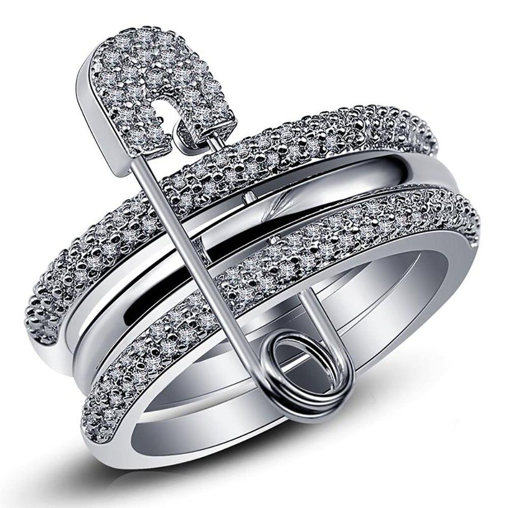Amplio conjunto de Anillos de dedo para mujeres con Pin anillo de circón cúbico pavimentar el ajuste de la fiesta femenina accesorio Ángel Anillos Mujer Bague