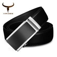 COWATHER 2019 luxe hommes ceinture pour hommes automatique alliage boucle haute qualité vache cuir ceinture vintage design peau de vache mâle sangle CZ117