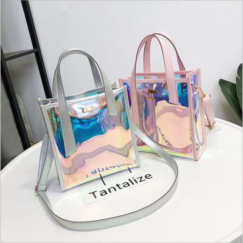 Bolsa de compra transparente para mujer a la moda, bolso de hombro, bolso de playa de verano de caramelos de gelatina