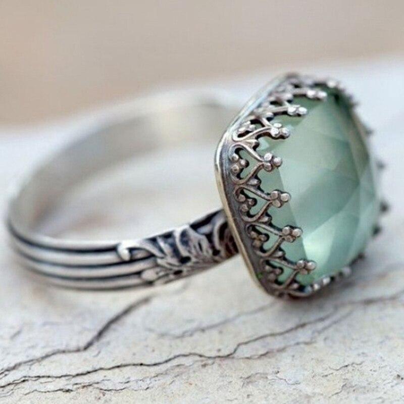 Vintage Thai Silber Mint Grün Mondstein Ring Einfache Grünes Quadrat Runde Zirkon Ring Für Frauen Mode Retro Ringe Schmuck