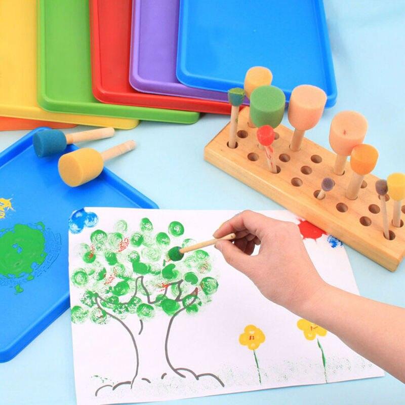 4 шт. губка желтая кисть для рисования с деревянной ручкой граффити Дети DIY игрушки для рисования искусство детский инструмент для рисования...