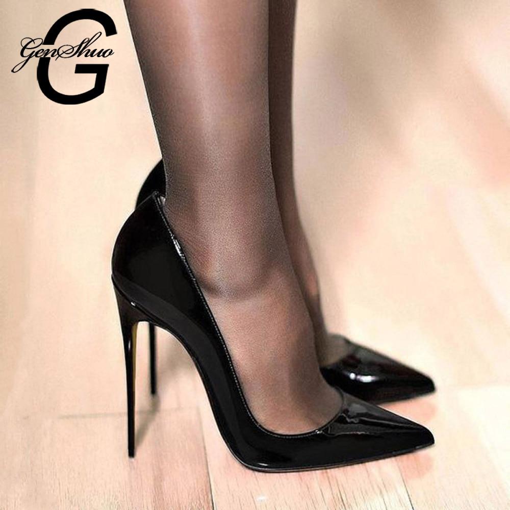 GENSHUO-حذاء نسائي من الجلد اللامع بكعب عالٍ ، حذاء أسود مثير ، مدبب ، مقاس كبير 11 12