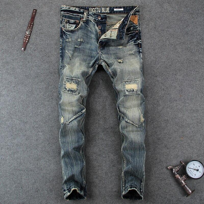 Mode Designer Herren Jeans Knie Loch Ausgefranste Ripped Jeans Für Männer Bettler Hosen Marke Tasten Hosen Slim Fit Biker Jeans männer