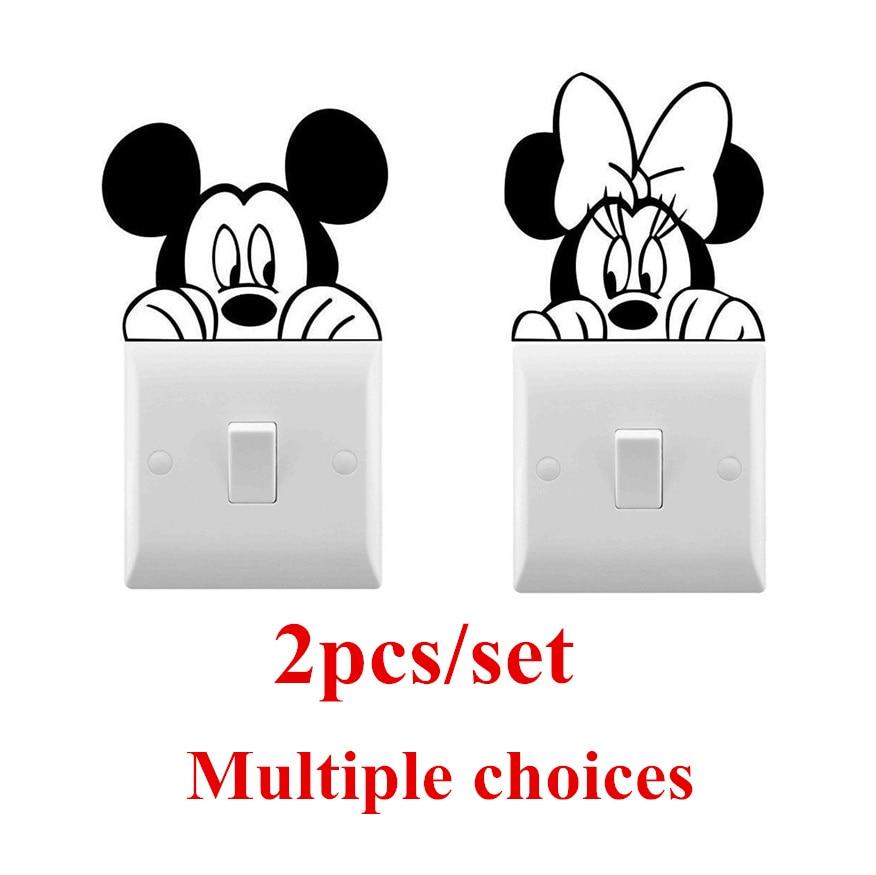 2pcs/set Mickey Minnie Wall Vinyl Sticker Cute Light Switch Sticker For Kids Room Decorative Mickey Fairy Switch Stickers AZ083
