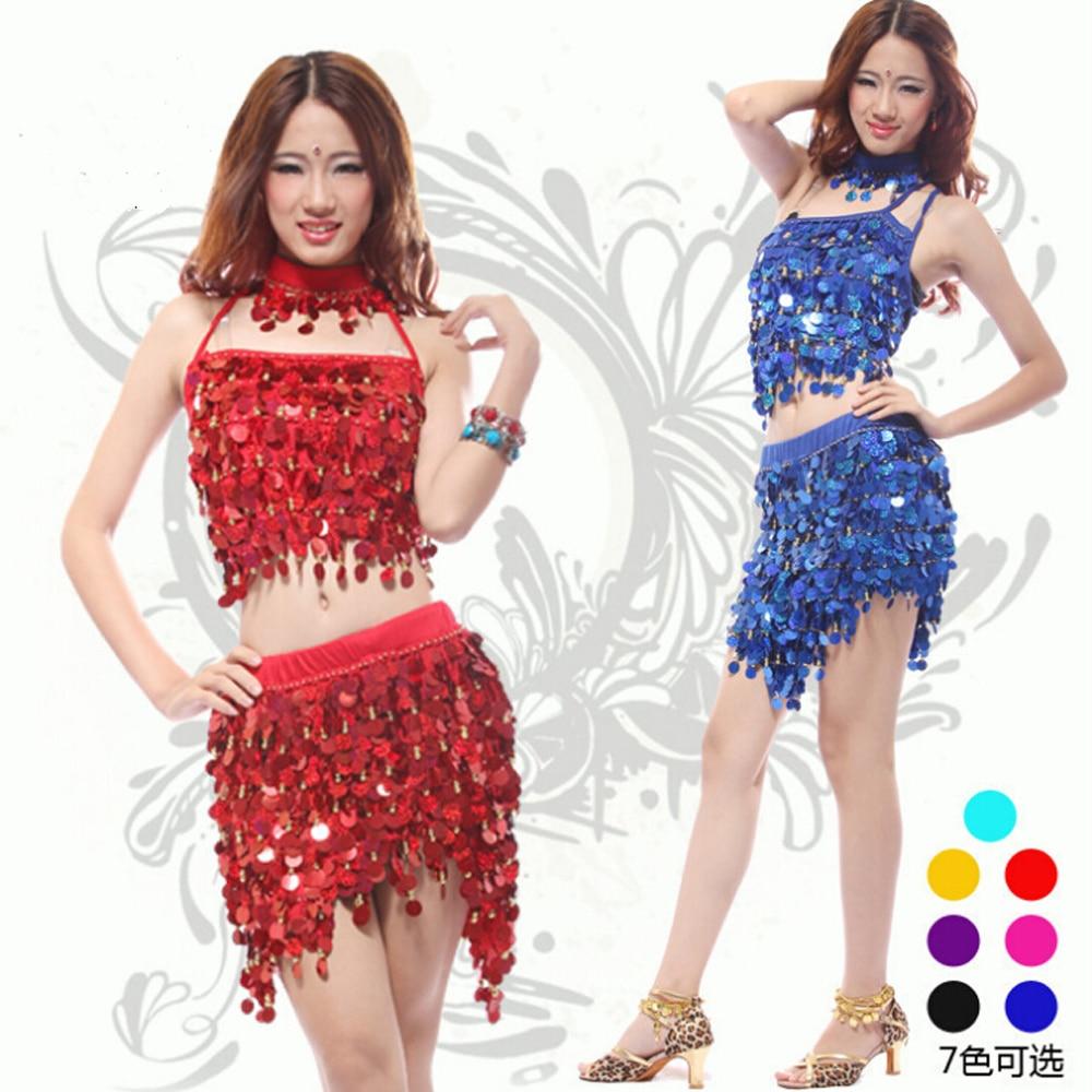 2016 nuevos vestidos de baile de salón Samba traje para Rumba para mujeres Sexy lentejuelas vestido Latino lentejuelas vestido 3 unids/set