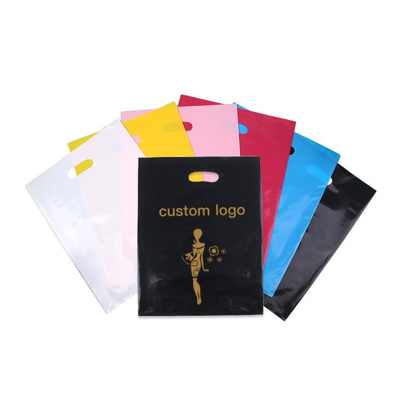 Bolsas de plástico impresas personalizadas bolsa de regalo embalaje para compras bolsa de transporte de ropa logotipo marca diseñada bolsas de PE