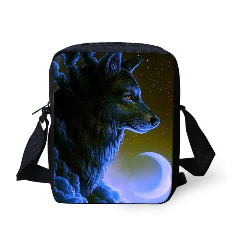 THIKIN 3D animales Lobo los hombres Mini bolsas de mensajero niños luz bolso bandolera para niños de dibujos animados de moda hombro bolsas