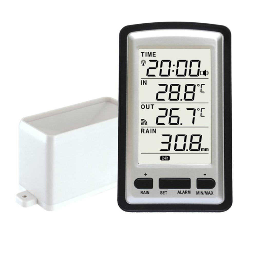 Praktische Kunststoff Regen Gauge Digitale Mode Messung Werkzeug Temperatur Wetter Instrument Outdoor Wireless Home Innen Sensor