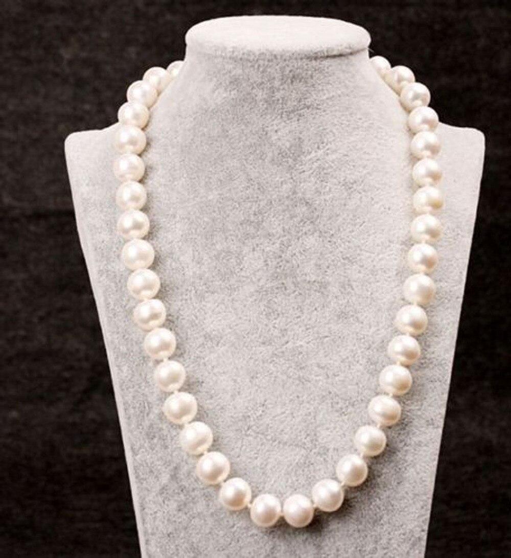 Collar de perlas blancas de 9-10mm redondas genuinas de 25 pulgadas cultivadas en agua dulce