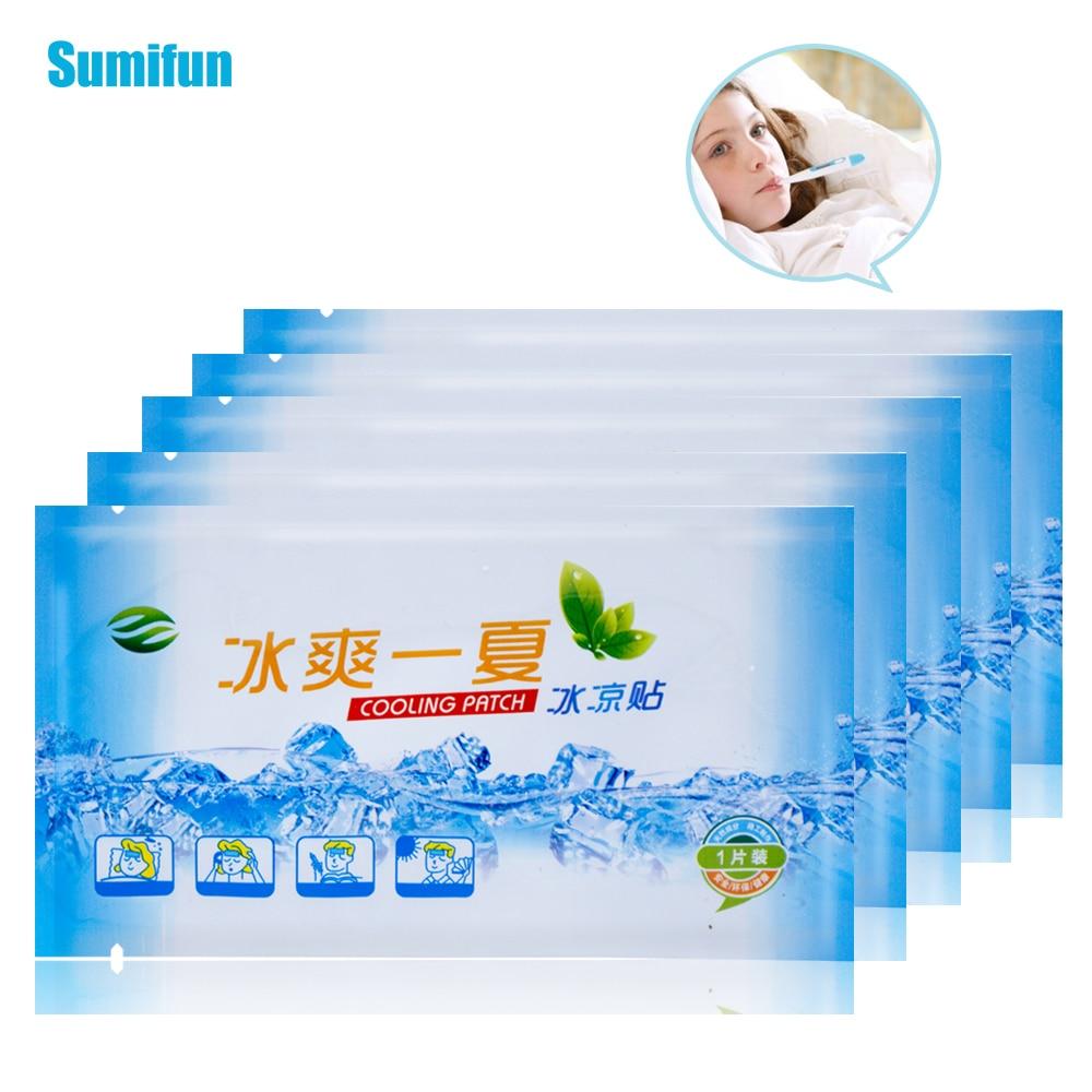 10 bolsas de parches de enfriamiento para bebés adultos Fever Down yeso médico baja temperatura Gel de hielo polímero hidrogel dolor de cabeza almohadilla caliente D1839