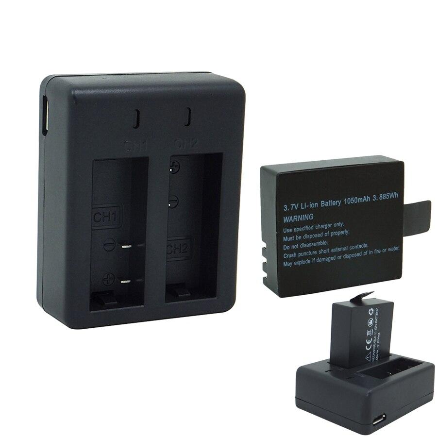 Аккумулятор 1050 мАч с двойным зарядным устройством, 3,7 В литий-ионная аккумуляторная батарея для SJCAM SJ4000 SJ5000 Vefly Sport Camera DV action cam