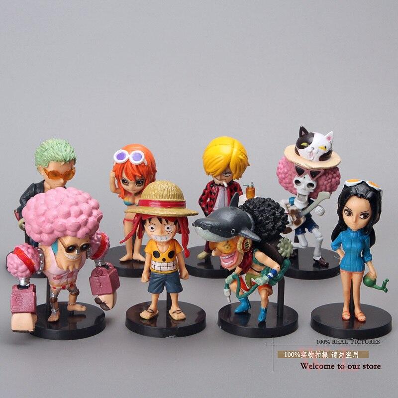 Anime una pieza Luffy Ace Shanks mono D Garp Edward Newgate Buggy Mini PVC figuras de acción juguetes muñecas 8 unids/set OPFG314