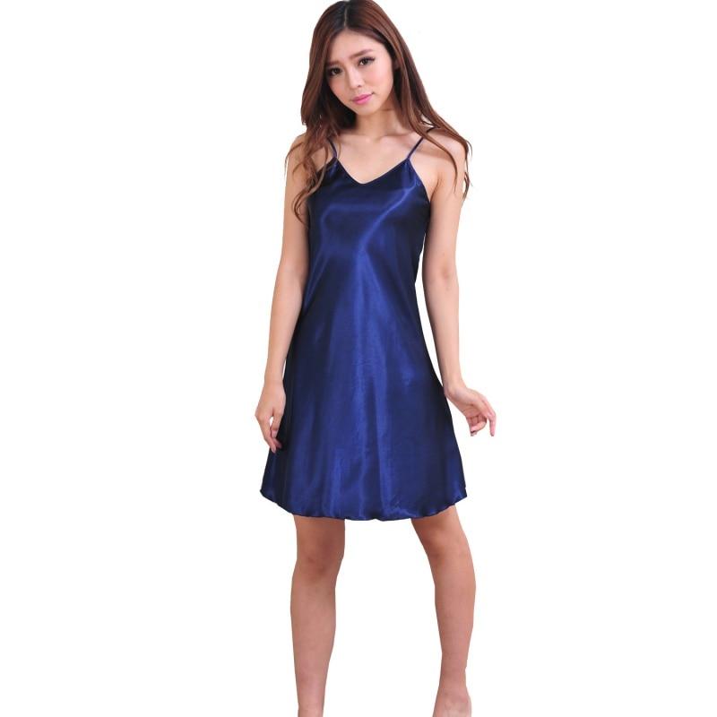 Sexy Women Sleep Lounge Nightgowns Sleepshirts Girls Sleepwear Nightshirts Satin Chemises Slip Sleep